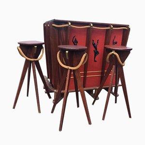 Bar und Hocker Set von Adrien Audoux & Frida Minet, 1950er, 4er Set