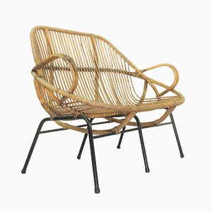 Mid-Century Dutch Rattan Sofa Bench from Rohé Noordwolde, 1960s