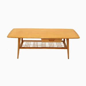 Coffee Table with Bamboo Mat and Drawer by Louis van Teeffelen, 1950s