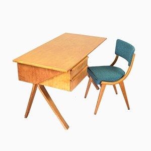 Vintage Dutch Birch Model EB02 Desks by Cees Braakman for Pastoe, 1950s, Set of 2