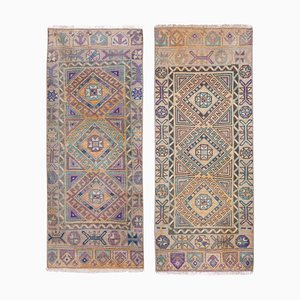 Small Turkish Hand Knotted Faded Distressed Yastik Carpets, 1970s, Set of 2