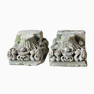 19th Century Carved Stone Column Bases, Set of 2