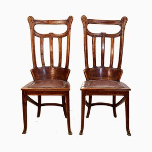 Art Nouveau Austrian Dining Chairs, 1920s, Set of 2