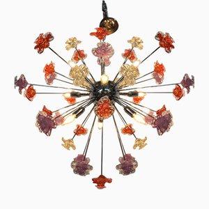 Lámpara de araña Sputnik con flores de cristal de Murano de Italian Light Design