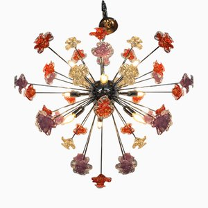 Murano Glass Sputnik Flower Chandelier from Italian Light Design