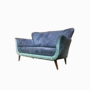 Italienisches Zweifarbiges Sofa aus Alcantara & Buche, 1950er