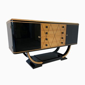 Art Deco Italian Black and Maple Sideboard, 1940s