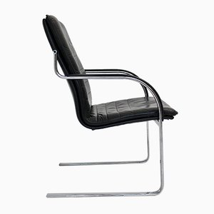 Mid-Century Black Leather Armchair, 1960s