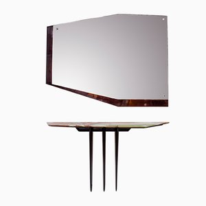 Italian Onyx Wood and Glass Mirror Console Table, 1950s