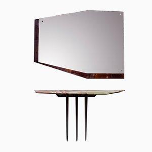 Italienischer Onyx Holz & Glas Konsolentisch, 1950er