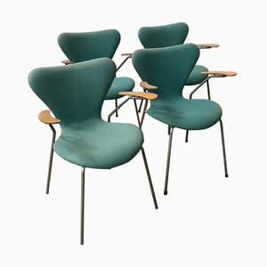 Turquoise Model 3207 Butterfly Armchairs by Arne Jacobsen for Fritz Hansen, 1990s, Set of 4