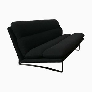 Black Base and Black Fabric 3-Seater Sofa by Kho Liang Ie & Wim Crouwel for Artifort, 1970s