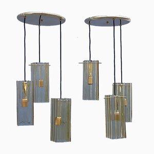 Gelbe Deckenlampen aus Muranoglas & Messing von Mazzega, 1970er, 2er Set