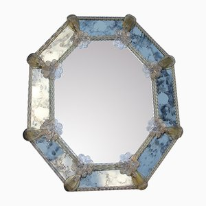 Octagonal Murano Glass Mirror with Gold Dusted Flowers and Braids, 1950s