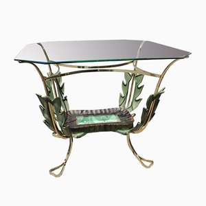 Italian Brass and Wooden Coffee Table by Pier Luigi Colli, 1950s