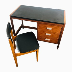 Mid-Century Teak Desk and Chair Set, 1970s