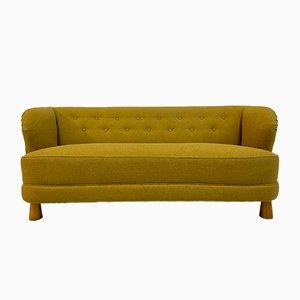 Mid-Century Danish Mustard Bouclé 3-Seater Sofa, 1940s