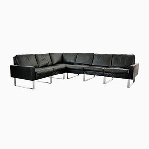 German Black Leather Modular Conseta Sofa from Cor, 1960s, Set of 6