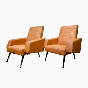 Mid-Century French Brown Vinyl Armchairs, Set of 2