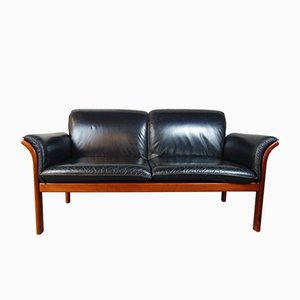 Mid-Century Danish Teak and Leather Sofa, 1960s