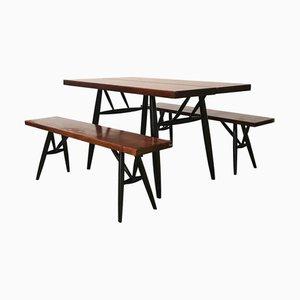 Conjunto de mesa de comedor y sillas Pirkka en rojo marrón de madera de Ilmari Tapiovaara para Artek, años 60. Juego de 3