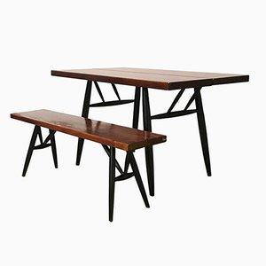 Red Brown Wooden Top Pirkka Dining Table & Bench Set by Ilmari Tapiovaara for Artek, 1960s, Set of 2