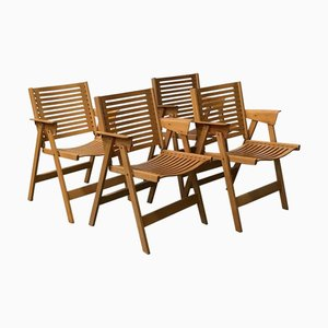 Wooden Folding Dining Chairs by Niko Kralj, 1980s, Set of 4