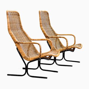 Rattan Lounge Chairs by Dirk van Sliedregt for Gebroeders Jonkers Noordwolde, 1960s, Set of 2