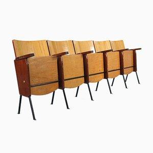 Panca da cinema pieghevole in legno con 5 sedute, anni '60