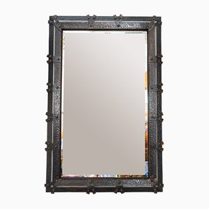 Art Deco Austrian Hammered Copper Wall Mirror, 1920s
