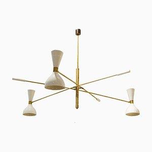 Lámpara de araña italiana Mid-Century de latón, años 60