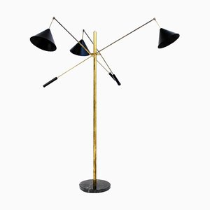 Lampada da terra Triennale in ottone, Italia, anni '60