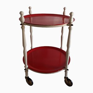 Vintage White Lacquered Wood and Red Painted Plywood 2-Tier Tea Trolley, 1970s