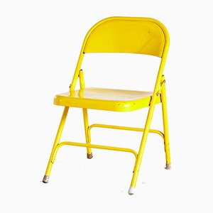 Vintage Yellow Folding Chair, 1980s