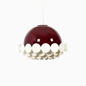Burgundy Red Glass Pendant Lamp from Doria Leuchten, 1970s