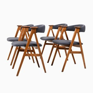 Mid-Century Danish Oak and Teak Dining Chairs, 1950s, Set of 4