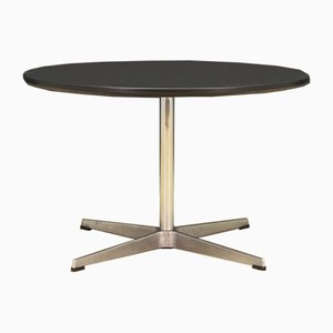 Danish Aluminum & Chrome-Plated Round Coffee Table by Arne Jacobsen for Fritz Hansen, 1970s