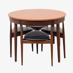 Teak Roundette Dining Set with 4 Chairs by Hans Olsen for Frem Rojle, 1952