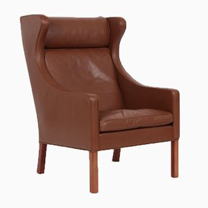 Brown Leather Model 2204 Wing Chair by Børge Mogensen for Fredericia, 1988
