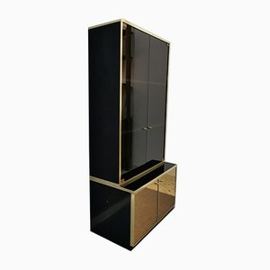 Showcase and Buffet with Brass and Mirrored Glass Finishes by Renato Zevi, 1970s, Set of 2
