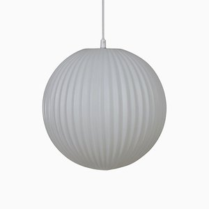 Ribbed Glass Pendant in White from Philips, 1950s