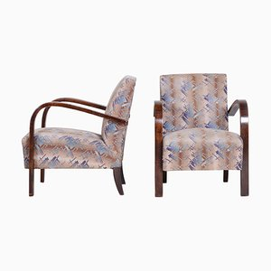 Art Deco Beech Armchairs, Czechia, 1920s, Set of 2