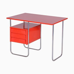 Functionalism Red Chrome Writing Desk, Czechia, 1940s