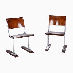 Bauhaus Beech & Chrome Folding Chairs, Germany, 1920s, Set of 2