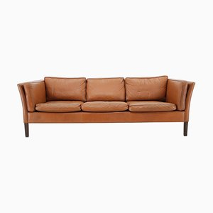 Danish Cognac Brown Leather 3-Seat Sofa, 1960s