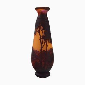 Paysage Vase aus mundgeblasenem Kunstglas von Emile Gallé, Frankreich, 1900er