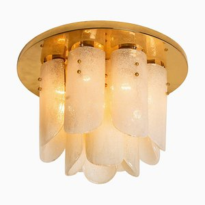 Brass and Glass Flush Mount by J.T. Kalmar, 1960s