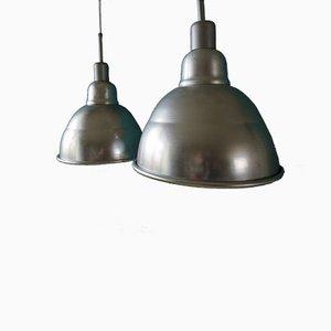 Lampade a sospensione industriali, Francia, anni '50, set di 2