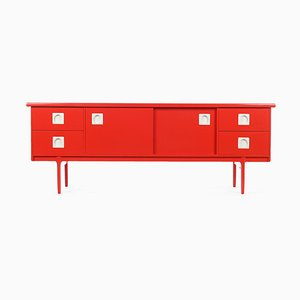 Red Lacquered Wood Console Table, 1960s