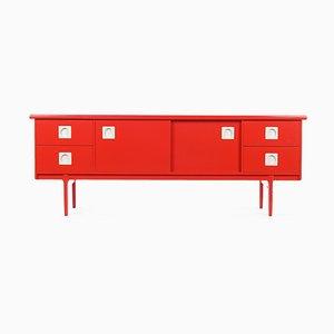 Rot Lackierter Konsolentisch aus Holz, 1960er